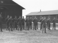Graduates of the MIS linguist training program stand in formation at Camp Savage, Minnesota, 1943.  [Courtesy of Florence Matsumura]