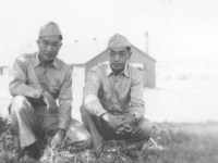 Tom Matsumura and a friend at Camp McCoy, Wisconsin  [Courtesy of Florence Matsumura]