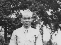 Pfc. Francis Kamikawa. Wisconsin Rapids Wis. July 26-1942. [Courtesy of Carl Tonaki]