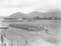 B Company marches in formation. [Courtesy of Velma Nakahara]