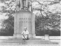 Joe Nakahara visiting the Lincoln Memorial in Wisconsin while on furlough. [Courtesy of Velma Nakahara]