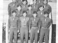 "Gathering of some of the original officers of the 100th Battalion.  Bottom row from left to right: Lt. Masao Koga, Lt. Ernest ""Candy"" Tanaka, Lt. Sam Sakamoto, Lt. Shigeru Tsubota; Second row from left to right: Capt. (Dr.) Isaac Kawasaki, Lt. Spark Matsunaga, Capt. (Dr.) Richard Kainuma; Third row from left to right: Lt. Mitsuyoshi Fukuda, Lt. Richard Mizuta, Lt. Henry Kawano, Capt. Jack Mizuha; top row (l-r): Lt. Sakae Takahashi, Lt. Kiyoshi Kuramoto [Courtesy of Bob Kainuma]"