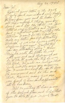 Capt R.T. Kainuma, 8/20/1944, page 1