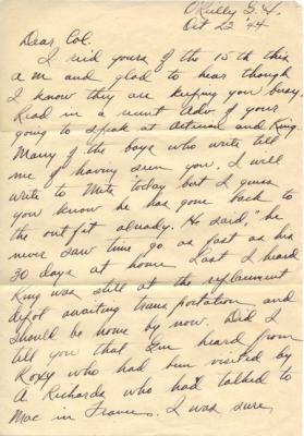 Maj Jim W Lovell, 10/23/1944, page 1