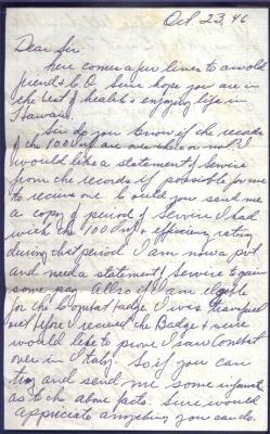Pvt. Lee H Blood, October 23, 1946 (page 1)