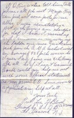 Pvt. Lee H Blood, October 23, 1946 (page 2)