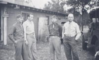 100th Battalion officers, Captain Brenneman, Major Lovell, Captain Kometani, and Lt. Col. Turner. [Courtesy of Dorothy Kometani]