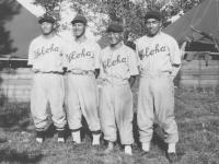 Goro Moriguchi (pitcher) ad Takeba (left fielder) practice in Wisconsin [Courtesy of Sandy Erlandson]